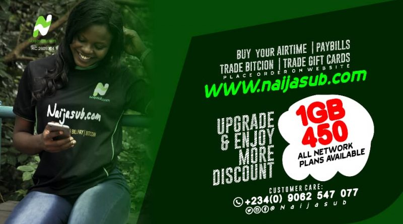 How to Buy 1GB Data at #450 on Naijasub